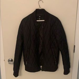 H&M Black Quilted Bomber Jacket M